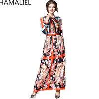 HAMALIEL Vintage Women Runway Long Dress 2018 Designer Spring Autumn Flower Bow Hit Color Long Sleeve
