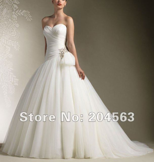 Free Shipping Pleated Wedding Dress With Cap Sleeves Custom size/color