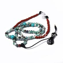 Urizons 2016 New Arrival Fashion Earphones Luxurious ceramic beads Necklace Earphones for boys and Girls