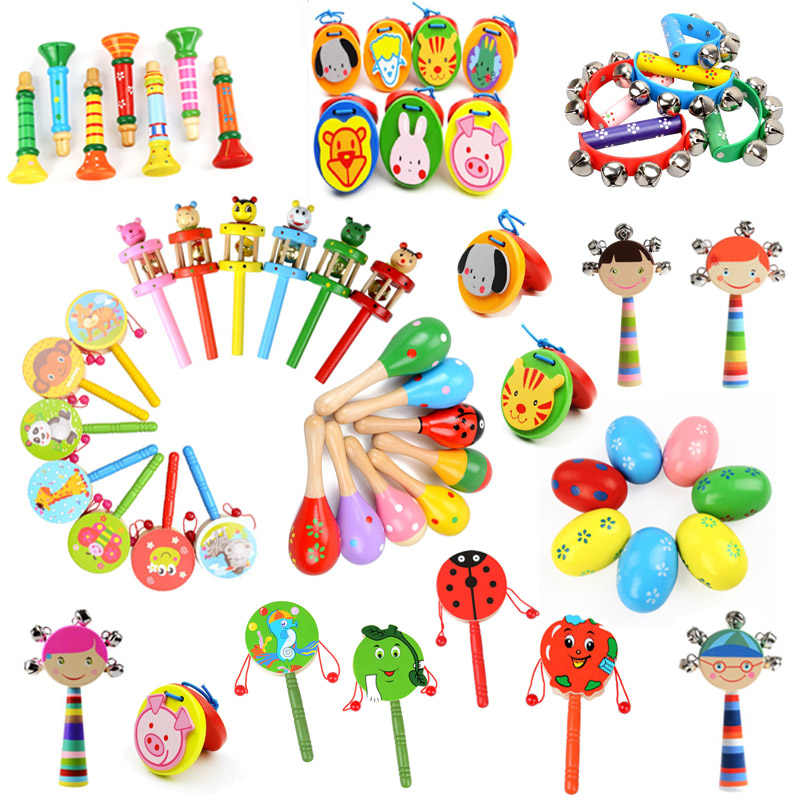 Various Wooden Maracas Rattles Drum Baby Musical Instrument for Baby Rattle Shaker Party Early Child Educational Toy Random 1pcs