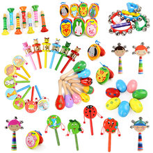 Various Wooden Maracas Rattles Drum Baby Musical Instrument for Baby Rattle Shaker Party Early Child Educational Toy Random 1pcs(China)