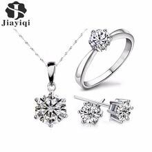 Женский комплект ювелирных изделий, серебряное ювелирное изделие с кубическим цирконием, массивное ожерелье и серьги, свадебные ювелирные ...