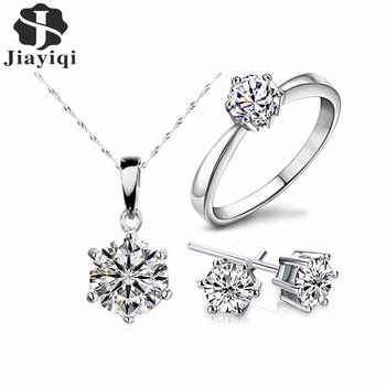 Silver Color Fashion Jewelry Sets Cubic Zircon Statement Necklace & Earrings Rings Wedding Jewelry