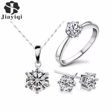 2018 Hot Sale Silver Color Fashion Jewelry Sets Cubic Zircon Statement Necklace & Earrings Rings Wedding Jewelry for Women Gift(China)
