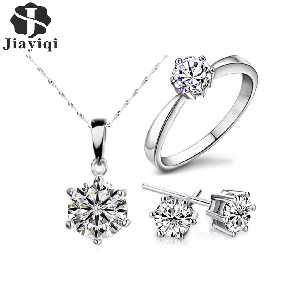 Hot Sale Silver Color Fashion Jewelry Sets Cubic Zircon Statement Necklace & Earrings Rings Wedding Jewelry For Women Gift
