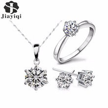 2018 Hot Sale Silver Color Fashion Jewelry Sets Cubic Zircon Statement Necklace Earrings Rings Wedding Jewelry