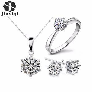 Earrings Jewelry-Sets Necklace Gift Cubic-Zircon-Statement Silver-Color Women for Fashion