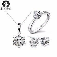 2018 Hot Sale Silver Color Fashion font b Jewelry b font Sets Cubic Zircon Statement Necklace