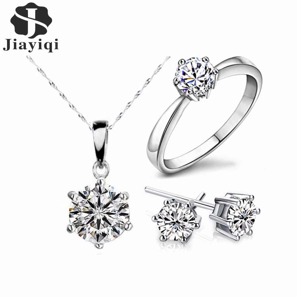 2018 gran oferta conjuntos de joyas de moda de Color plata collar y pendientes de declaración de circón cúbico anillos de boda y joyería para regalo de mujer