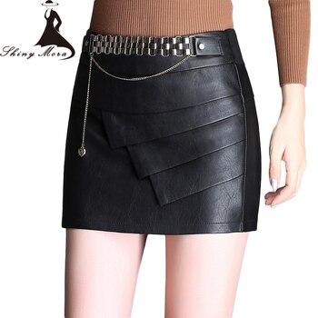 61f4303fb SHINYMORA moda PU faldas lápiz para mujeres media cintura Mini pantalones  cortos de cuero faldas ...
