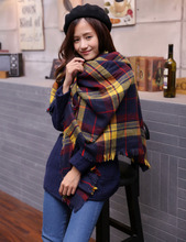 New Women Winter Scarf Cashmere 2016 Brand Fashion Lady Plaid Checked Scarf Tartan Stole Blanket Wrap Shawl Pashmina Scarf Women