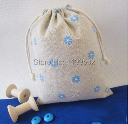 CBRL 8*12cm blue daisies drawstring jute/linen/flax bags for ornament gift\jewelry\watch\ pouch\bag wholesale custom-made