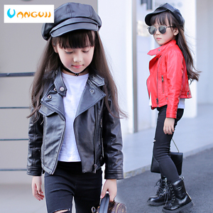 Image 2 - girls pu jacket rivet zipper cool jacket Leather clothing for girls 5 13 years oldClassic collar zipper leather motorcycle
