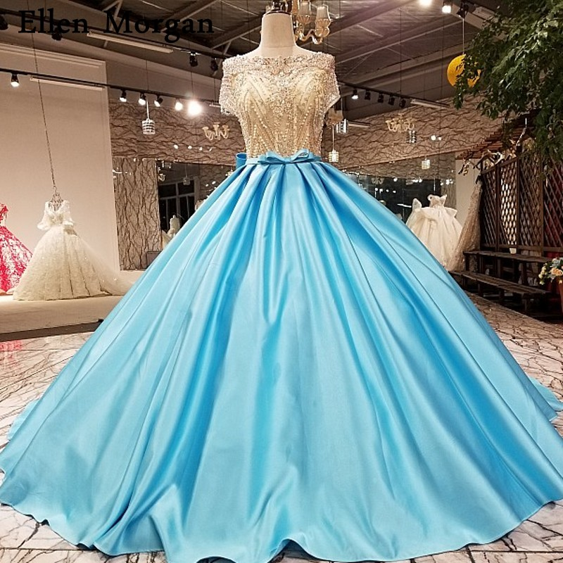 Blue Wedding Dresses 2019: Backless Light Blue Satin Ball Gowns Wedding Dresses 2019