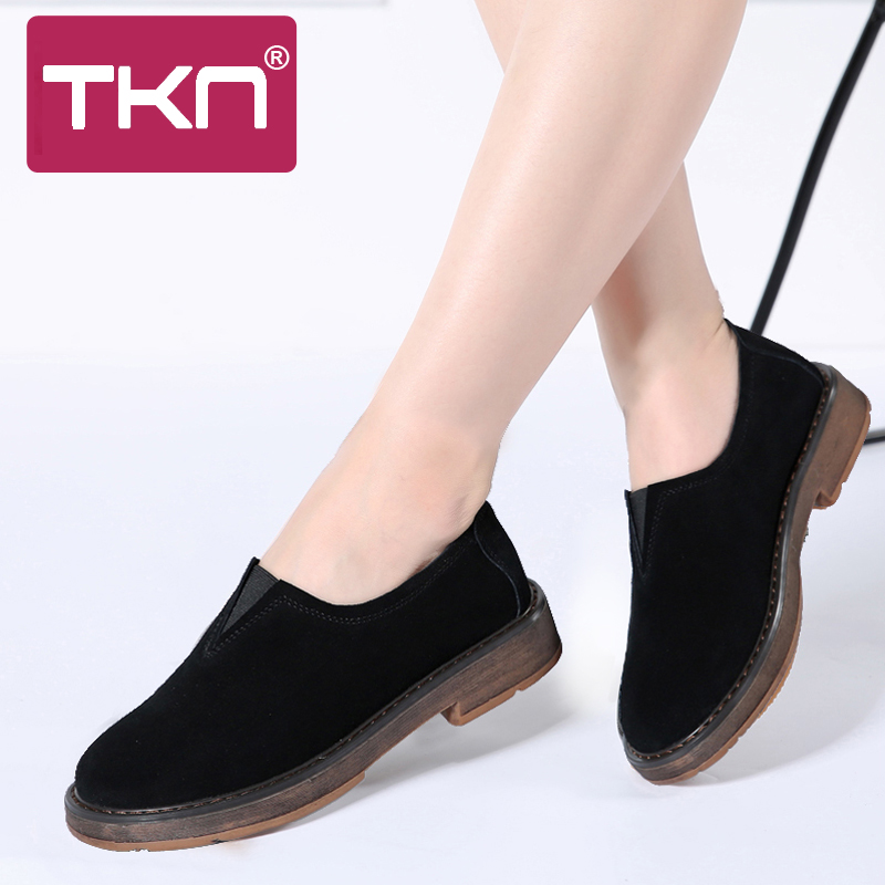 TKN 2019 Spring Women Flats Slip-On Shoes Women Loafers   Leather     Suede   Casual Sneakers Boat Shoes Oxford Shoes For Women 1702