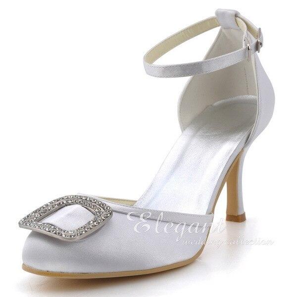 ФОТО Woman EP2100 White Closed Toe Rhinestone High Heel Ankle Strap Satin Bride Bridesmaid Wedding Bridal Dress Shoes Ivory Blue