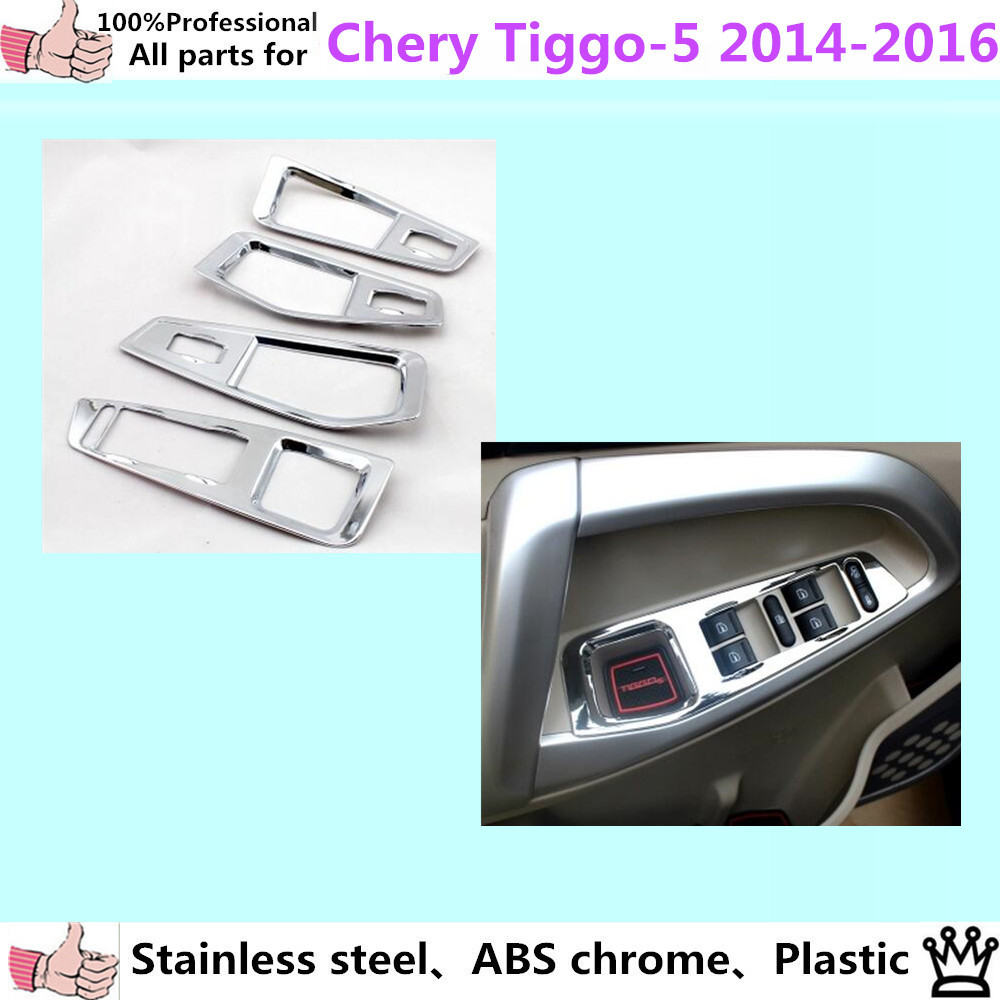 car ABS chrome door Window glass interior panel Armrest Lift Switch Button trim frame 4pcs For Chery Tiggo 5 2014 2015 2016