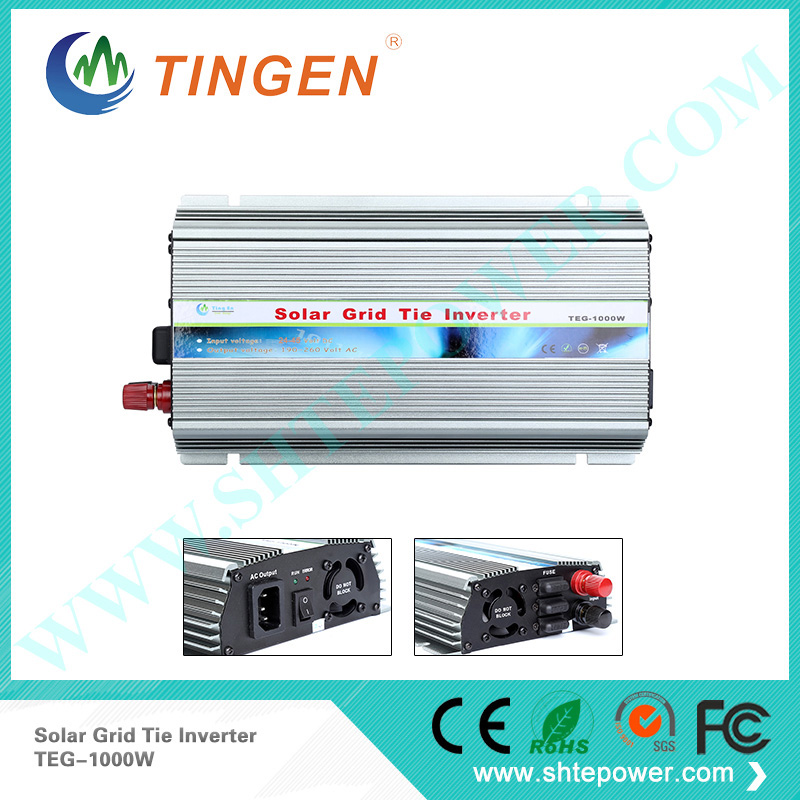 MPPT solar inverter 1000W 1KW 24-45V DC input 36V solar pv Grid Tie Pure sine wave power inverter AC output 190-260V 1kw grid tie solar module power dc to ac inverter