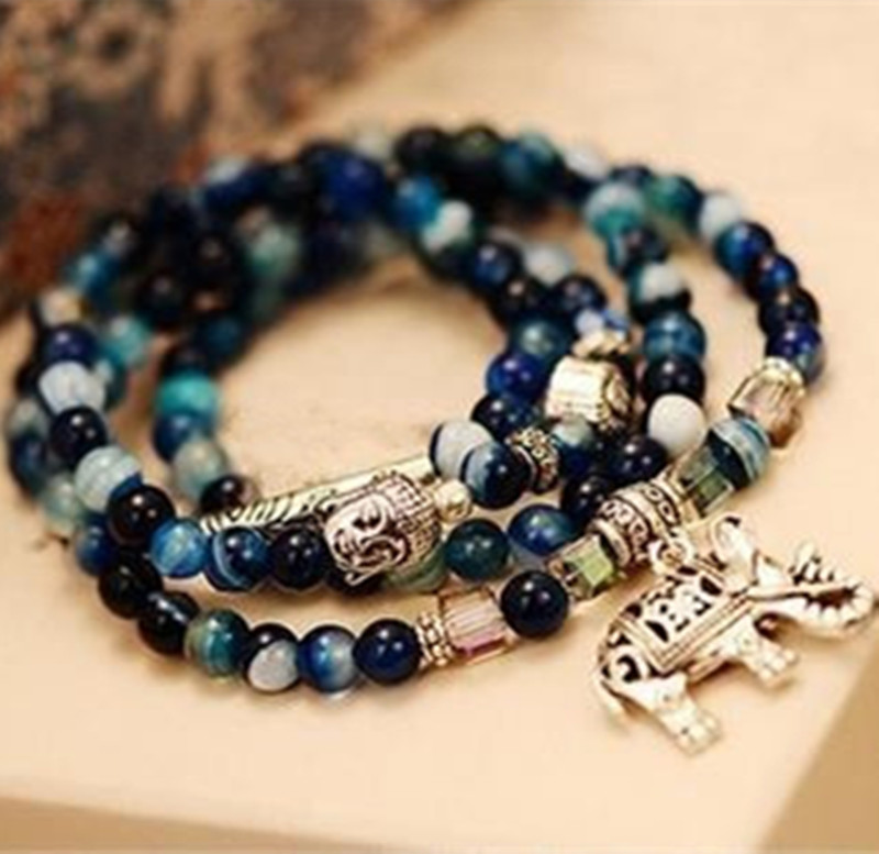 Dominated natural crystal bracelet female vintage fashion multi-layer blue tourmaline buddha head bracelet