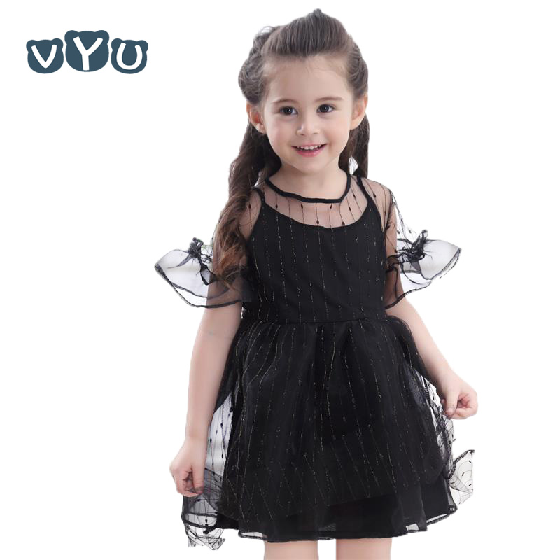 VYU Girl Princess Dress White Black Costume Flower Girls Party Dress Children Clothes For Little Girl Kids Summer Tutu Dresses new cinderella princess girl dress kids christmas dresses costume for girls party crown necklace fantasia dress kids clothes