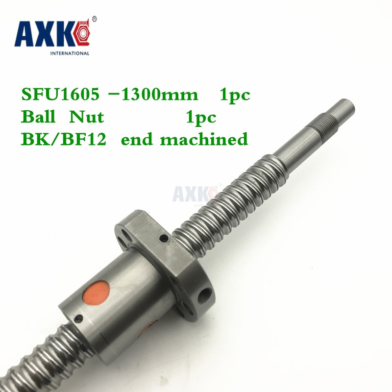 Axk Free Shipping Sfu1605 1300mm Rolled Ball Screw C7 Grade With 1605 Flange Single Ball Nut For Bk/bf12 End Machined Cnc Parts free shipping sfu1605 1300mm rolled ball screw c7 grade with 1605 flange single ball nut for bk bf12 end machined cnc parts