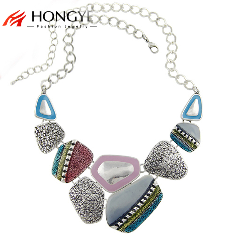 Fashion Women Ethnic Vintage Antique Silver Plated Colorful Enameling Geometric Pendants Statement Chain Necklaces Ethnic Bijoux