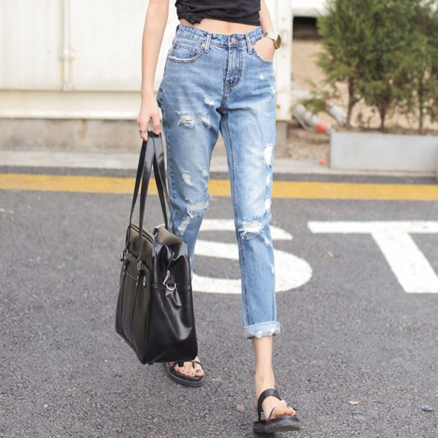 ca41df873a0 2015 New Fashion Women Loose-fitting Mid Waisted Denim Ripped Large Hole Jeans  Pants Casual Wear Trousers