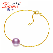 DAIMI Simple Women Pearl Bracelet 3 Colors Pendant Real Round Freshwater Pearl 7-7.5mm With 18k Yellow Gold Chain For Wedding
