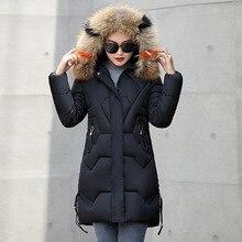 Cálido algodón Cuello De piel con capucha Parka largo más tamaño mujeres chaqueta De abrigo De invierno 2018 ropa De Mujer femenina De invierno casaco