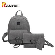 Fashion 3 PCS SET Leather Backpack Women Shoulder School Bags For Teenager Girls Metel Ring Trave