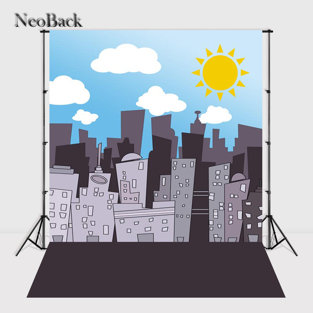 NeoBack 5x7ft Vinyl Cloth Children Kids City photo backgrounds Printed Cartoon New Born Baby Studio Photo Backdrops P0902