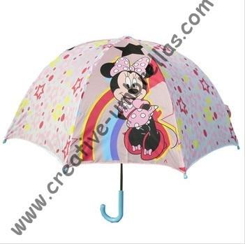 Parapluie pour enfants, parapluie de dessin animé pour enfants-Little Minnie, ouverture automatique, arbre en métal de 8mm et nervures cannelées, parapluies pour enfants en toute sécurité