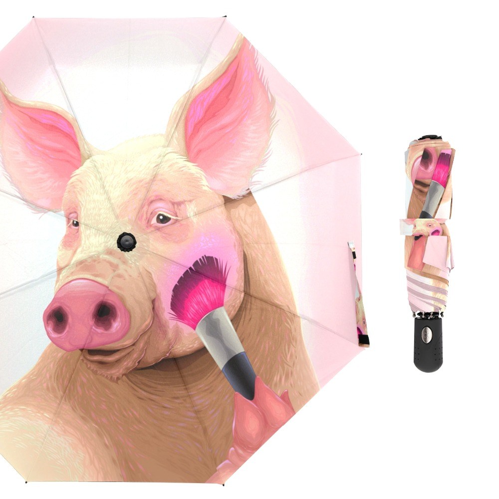 Susino Cute Pig Windproof Umbrellas Fully-automatic Open Metal Pongee Compact Auto Open CLose Three-folding UmbrellaSusino Cute Pig Windproof Umbrellas Fully-automatic Open Metal Pongee Compact Auto Open CLose Three-folding Umbrella