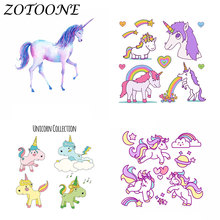 ZOTOONE Unicorn Iron on Patches Thermo Stickers Animal for Clothing Bike Tactical Heat Transfers Clothes E