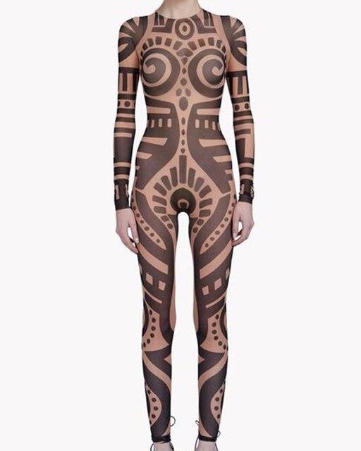 Summer Women VintageTribal Tattoo Print Mesh Jumpsuit Curvy African Runway  Sheer Bodysuit Celebrity Jumpsuit Catsuit 705ec47cc49b