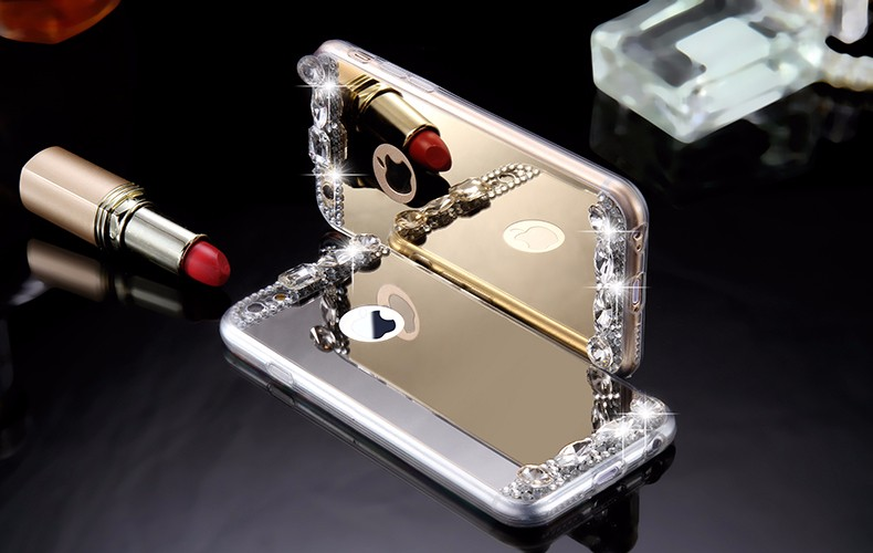 6S 7 Plus Luxury Diamond Glitter Mirror Case For Apple iPhone7 Plus 6 6s Plus 5 5S SE Dual Layer Bling TPU Slim Clear Back Cover (5)
