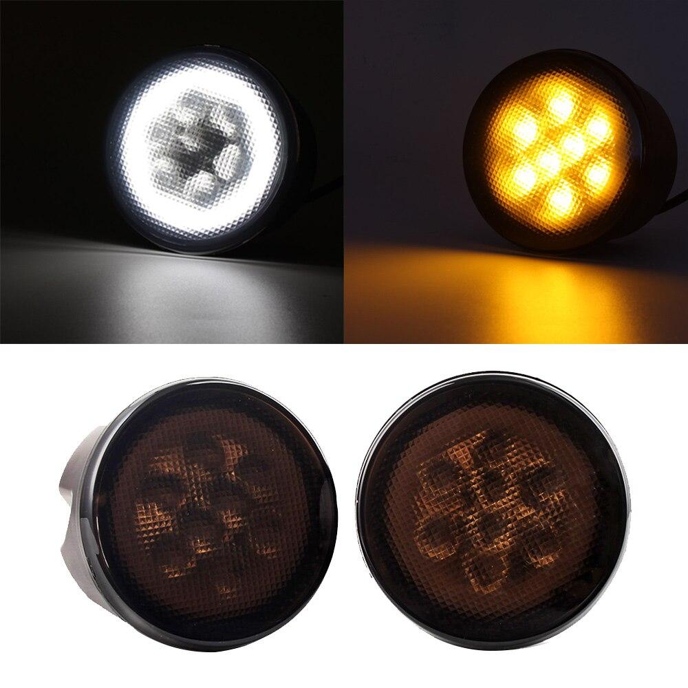 NOVSIGHT 2pcs LED White DRL Daytime Running Light Yellow Turn Signal Lamp For 07 15 Jeep JK Wrangler Free Shipping D30