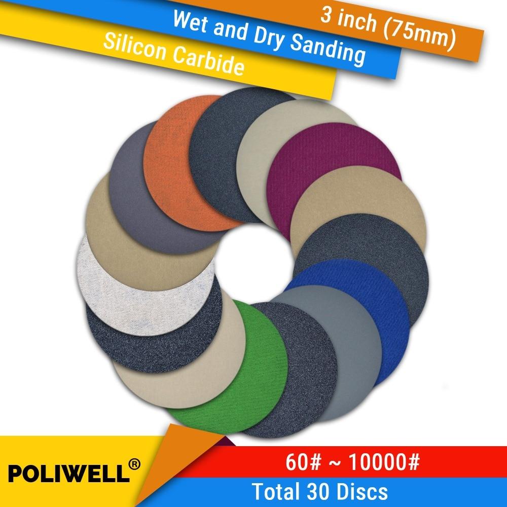 30PCS 3 Inch(75mm) Silicon Carbide Hook&Loop Flocking Waterproof Sanding Discs For Wet/Dry Sanding Round Abrasive Sandpaper