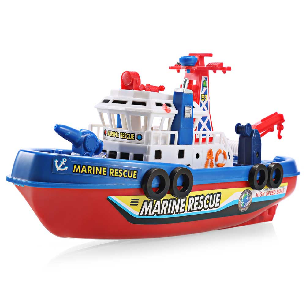 Outdoor Toys Music Light Electric Marine Rescue Fire Fighting Boat Toy Waterproof Mini Speed Boat Airship as gift for children (5)