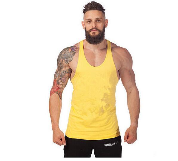 2017 New Brand Summer Singlets Mens Tank Top T Shirt Solid Color Stringer Bodybuilding Golds Gymvest Cotton Sportswear Vest