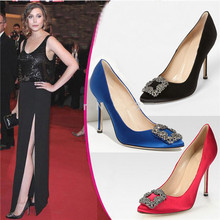New Fashion Red Blue Silk Crystal Women Wedding Shoes Woman Rhinestone Women Pumps Stiletto High Heels Ladie Shoes Zapatos Mujer