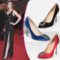 New Fashion Red Blue Silk Crystal Women Wedding Shoes Woman Rhinestone Women Pumps Stiletto High Heels