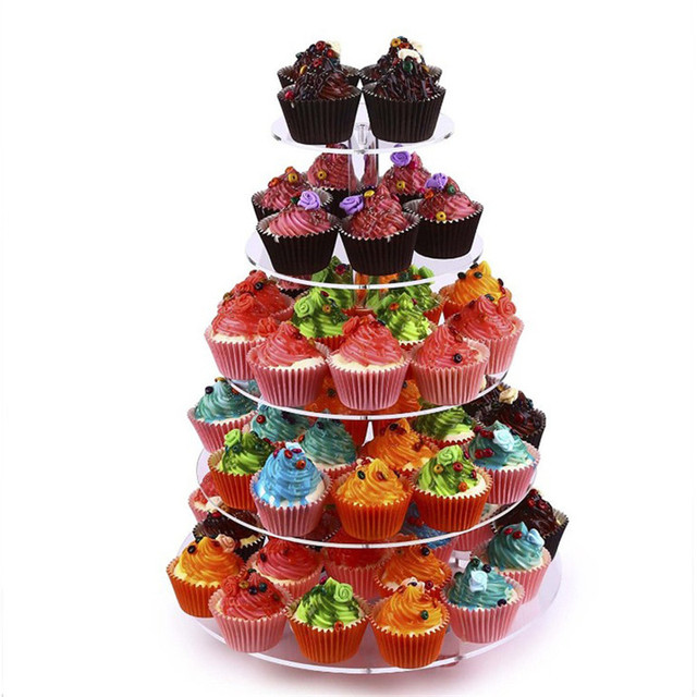 3/4/5 Tier Crystal Acrylic Cake Stand Round Cupcake Holder Shelf Wedding Birthday Party Cup Cake Display Stands Decorating Tools 1