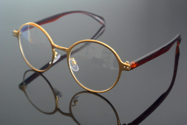 a0be0980d2 Vintage Oval Gold Brown Eyeglass Frame Glasses Retro men women Full Rim Rx  able