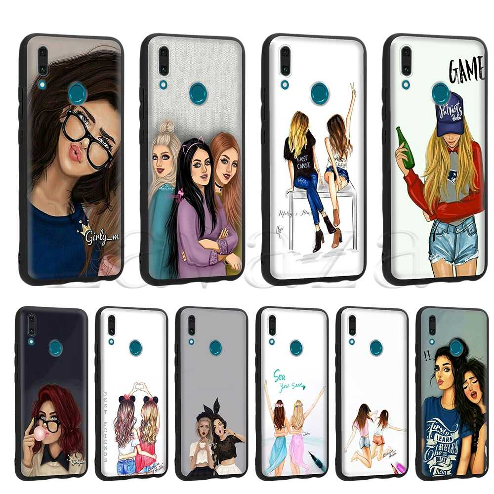 Lavaza Girls Brunette Blonde Best Friends BFF Silicone Case for Huawei Mate 10 P8 P9 P10 P20 Y7 Y9 Lite Pro P Smart Mini 2019