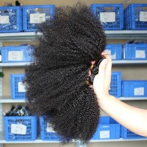 Image 2 - Монгольские афро кудрявые пряди волос 100% человеческие волосы пряди с закрытием 4B 4C наращивание ткать девственные волосы 2 или 3