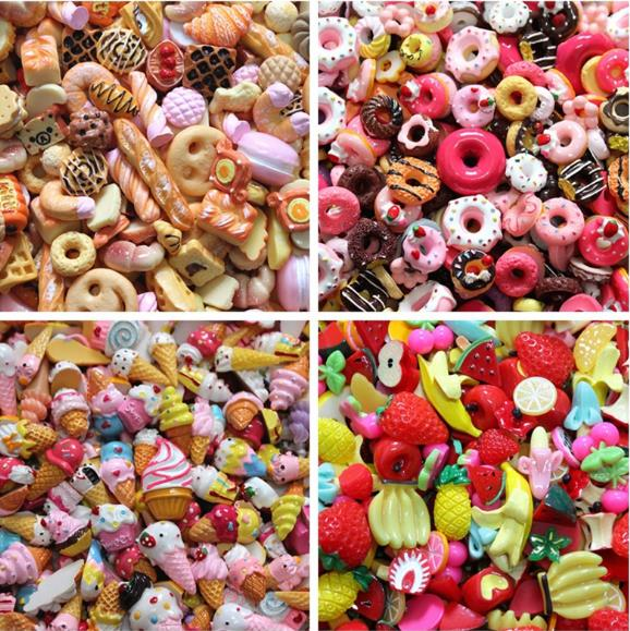 wholesale resin food dessert flat back cabochon crafts for decoration mix style 500pcs lot