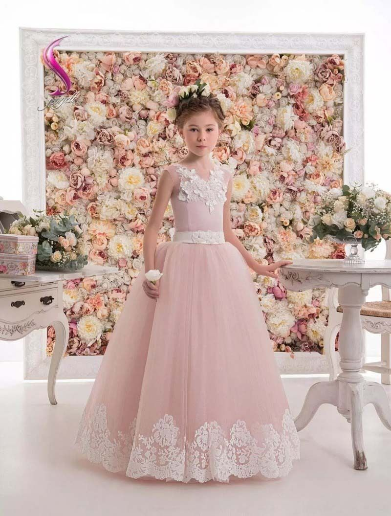 все цены на Sleeveless Satin Flower Girl Dresses First Communion Dress Lace Mother Daughter Dresses For Girl A-Line Pink Kids Evening Gowns онлайн