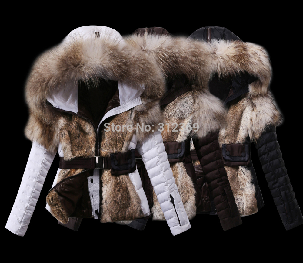 Aliexpress.com : Buy Luxury Big Fur Collar Warm Rabbit Fur Coat