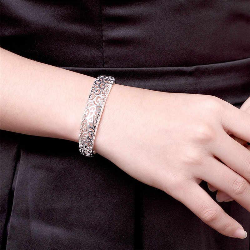 Femme Pulsera Tinh Tế Mở Vòng Tay Bangle 925 Phụ Nữ Sterling Silver Trang Sức Chất Lượng Cao Bạc Cuff Bangle Bijoux Bán Buôn